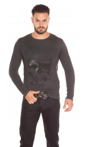 Trendy Men s Sweater Skull Print and Rhinestone Anthracite
