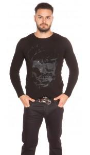 Trendy Men s Sweater Skull Print and Rhinestone Black