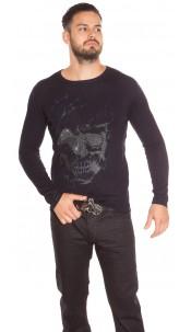 Trendy Men s Sweater Skull Print and Rhinestone Navy