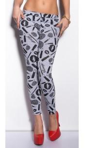 Sexy KouCla leggings with print Grey