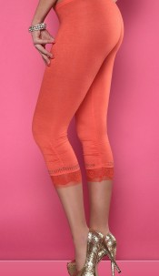 Sexy Capri-Leggings with lace and rhinestones Orange