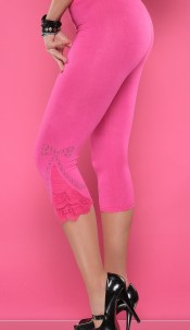 Sexy 3/4 Leggings with rhinestones and flounce Fuchsia