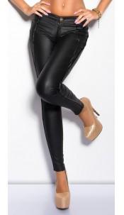 Sexy leatherlookpants with zips Black