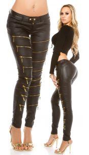 Sexy leatherlook pants with deco Zips Black
