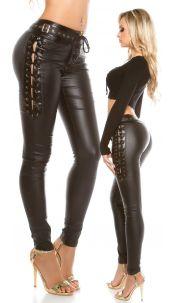 Sexy lederlook broek met veters Zwart
