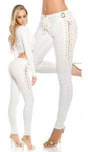 Sexy lederlook broek met veters Wit