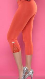 Sexy Capri-Leggings with loop and lace Orange