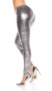 Sexy KouCla leggings with metallic leoprint Silver