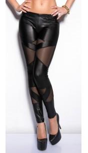Sexy KouCla wetlook-leggings with netapplications Black