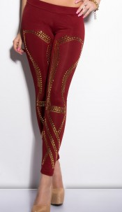 Sexy KouCla leggings with studs Bordeaux