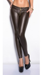 Sexy KouCla leggings with zip Brown