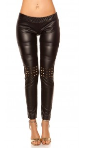 Sexy KouCla leatherlook-leggings with studs Black