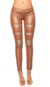 Sexy KouCla leatherlook-leggings with studs Cappuccino
