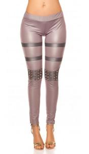 Sexy KouCla leatherlook-leggings with studs Grey