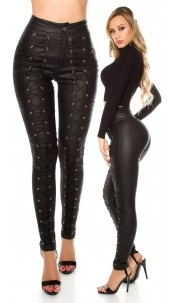 Sexy KouCla highw.leatherlook trousers with lacing Black