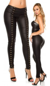 Sexy KouCla leatherlook Pants with deco hook Black