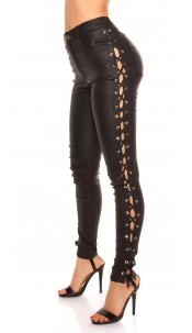 Sexy KouCla leather look pants laced & rhinestones Black