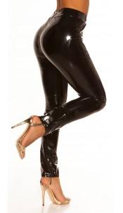 Sexy wetlook broek met ritsen zwart