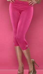 Sexy 3/4 Leggings with lace and bow Fuchsia