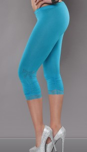 Sexy capri-leggings with studs and lace, gathered Turquoise