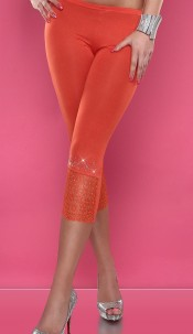 Sexy 3/4 Leggings with rhinestones and lace Orange