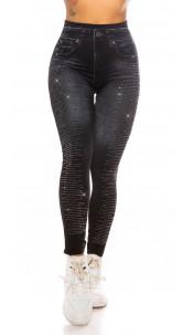 Sexy denim-spijkerstof look leggings met strass steentjes zwart