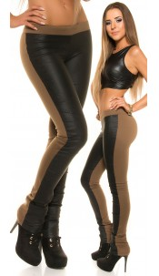 Sexy KouCla treggings with leatherlook-application Cappuccino