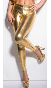 Sexy KouCla leggings with shiny-look and zips Gold