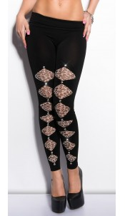 Sexy leggs with leo-print and rhinestones Blackgrey