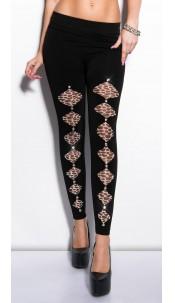 Sexy leggs with giraffe-print and rhinestones Black