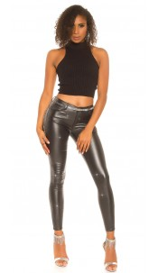 Sexy Party leatherlook pants with glitter Black