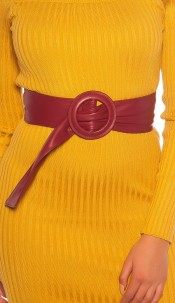 Trendy leatherette waist belt Bordeaux