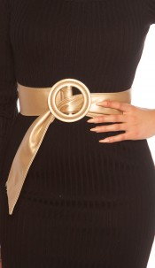Trendy leatherette waist belt Gold