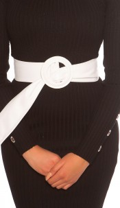 Trendy leatherette waist belt White