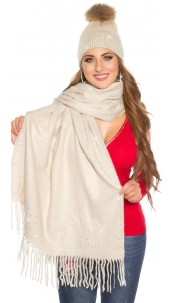 Trendy XL scarf with rhinestones Beige