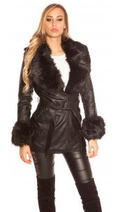Trendy leatherlook coat lined with fake fur collar Black