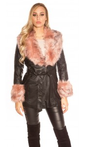 Trendy leatherlook coat lined with fake fur collar Rose
