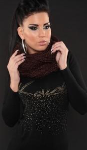Trendy Loop knit-scarf Brown