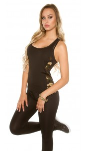 Trendy Workout Tanktop with Camouflage Black