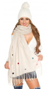 Trendy XL scarf with beads and PomPoms Beige