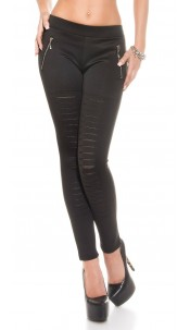 Sexy Leggings with cut offs + mesh + zips Black