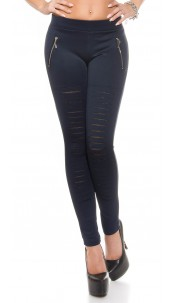 Sexy Leggings with cut offs + mesh + zips Navy