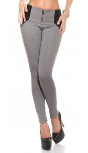 Sexy Highwaist leggings Shape look with Zip Grey