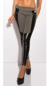 Sexy Treggings in leather-look Grey