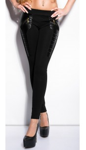 Sexy treggings with leatherlook and zips Black