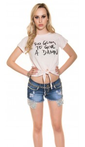 """Trendy T-shirt to tie up """"Too glam to give a damn"""" Pink"""