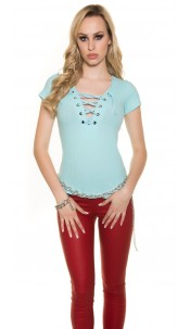 Trendy basic ripp shirt with lacing Turquoise