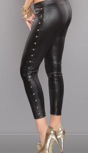 Sexy studded leatherlook-leggs Black