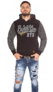 Trendy men s hoodie with pocket Black