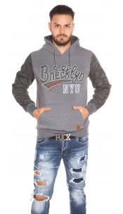 Trendy men s hoodie with pocket Grey
